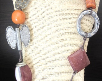 Long Funky Necklace Eclectic Mixed Beads Metal & Resin 35 Inches Adjustable
