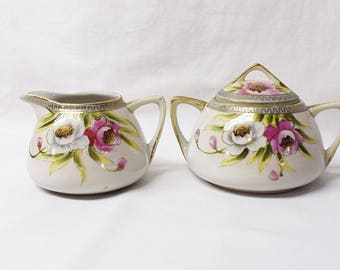 Vintage Nippon Cream and Sugar Set Floral Porcelain Cream and Sugar