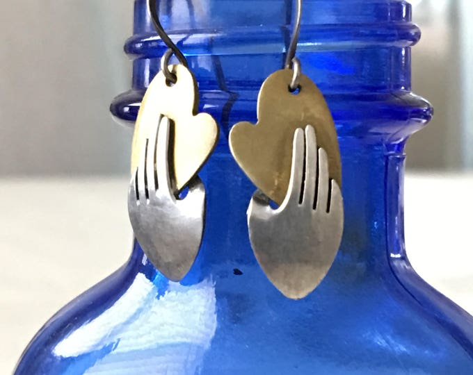 Heart and Hand Vintage Silver Earrings Far Fetched