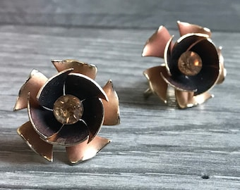 Vintage Copper Colored Flower Earrings, Clip On Earrings, Coro Signed Earrings, Coro Clip On Earrings, Flower Clip On's, Gifts For Her, 1960