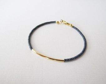 Grey gold bar bracelet - friendship bracelet