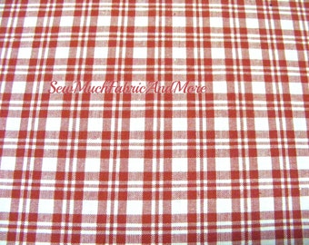 Red & White Plaid Homespun Fabric~by the 1/2 yard or yard~cotton~primitives~crafts~quilting