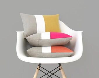 Pantone Colorblock Pillow Covers, Spring Decorative Pillow (12x16) by Jillian Rene Decor - Primrose Yellow, Pink Yarrow, Flame Orange