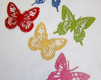 5 iridescent butterflies in 5 colors