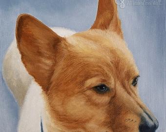 Welsh Corgi Art, Dog Art Print, Corgi Fine Art Giclee, Pet Portrait, Home Decor Wall Art, Dog Lover Gift, The Queen's Dog, Royalty, CHARLIE