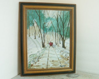 Vintage Oil Painting Snowy Winter Scene on Canvas Signed Randolph 1970