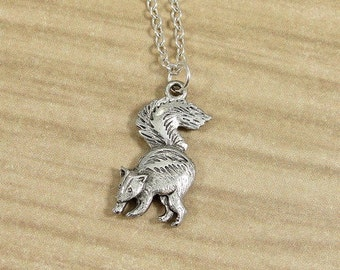 Skunk Necklace, Silver Skunk Charm on a Silver Cable Chain