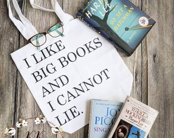 Book lover gift, funny book tote, I like big books and I cannot lie, book lover bag, book lover tote, book lover tote bag, bookworm gift