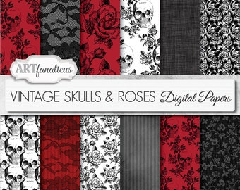 "Halloween digital papers ""VINTAGE SKULLS & FLOWERS"" vintage flowers, vintage skulls, black roses, red roses, black lace, gothic, flowers"