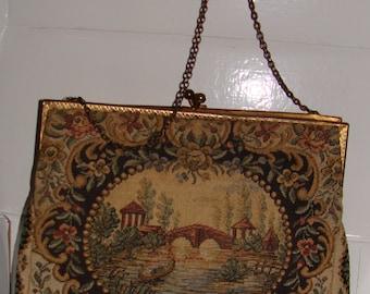 Vintage Handbag, Tapestry, Pink Lining, Pinch to Close