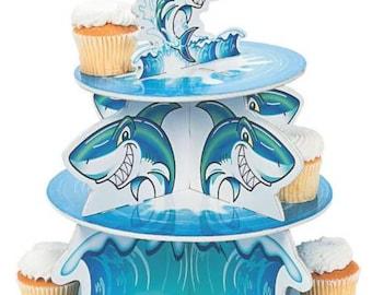 jawsome shark favors/ shark cupcake stand/ baby shark party/ shark party/ shark birthday/ baby shark birthday/ baby shark favors/ baby shark