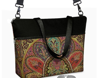 "17 inch Laptop Tote Bag Womens Briefcase Bohemian Paisley Laptop Shoulder Bag 15.6""  pockets zipper purple teal red black RTS"