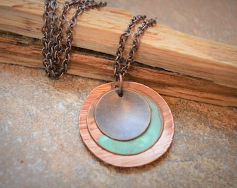 Hammered Copper Necklace, Copper Patina Necklace, Antique Copper Necklace, Copper Metal Necklace, Rustic Copper Necklace, Aqua Necklace
