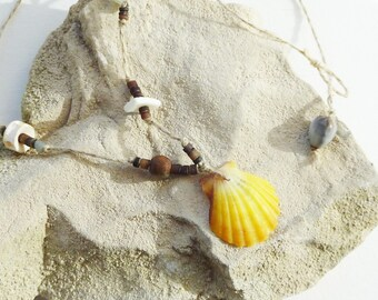 Summer nature necklace organic pendant small shell on linen thread