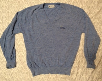 """Clearance Vintage Men's Pickering Blue Country Club """"The Plantation"""" Knit Vneck Sweater XL"""