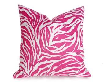 Zebra Pillows, Zebra Print Pillow, Pink Zebra Pillows, Pink White Pillows, Zebra Pillow Covers, Animal Print Pillows, 12x18, 16x16, 18x18