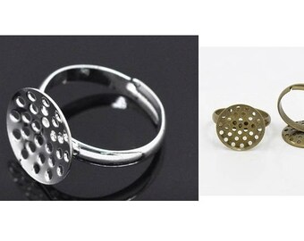 20 x ring, ring blank pad, finger ring, screen, screen ring, bonding stone, adjustable, silver plated, bronze