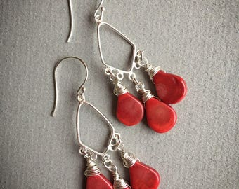 Red coral and 925 sterling silver chandelier earrings