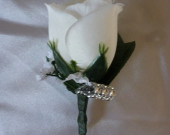 White rose boutonniere with Rhinestone Loop