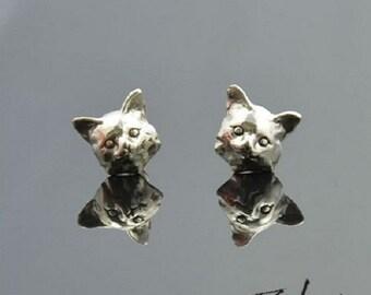 Earrings Kitten Silver