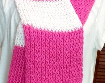 Ladies Beautiful White and Pink Scarf  Item #APW002