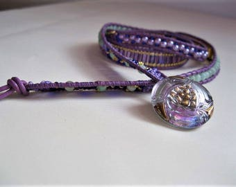 Green, purple, and gold wrap bracelet