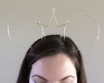 Wire mouse ears, wire ear headband, tiara crown, minnie ears with crown, Dapper Day