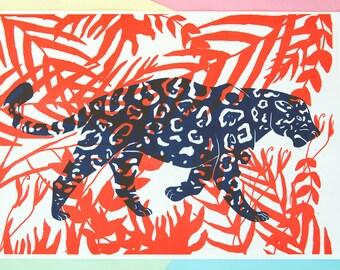 A3 Risograph Jaguar Print