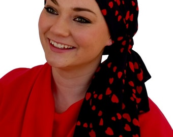 Carlee Pre-Tied Head Scarf, Women's Cancer Headwear, Chemo Scarf, Alopecia Hat, Head Wrap, Head Cover for Hair Loss - Red Hearts