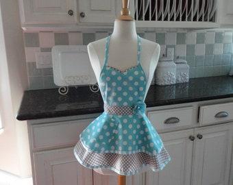 "Child's Apron in Aqua Blue ""Sadie Style"" ~ 4RetroSisters"