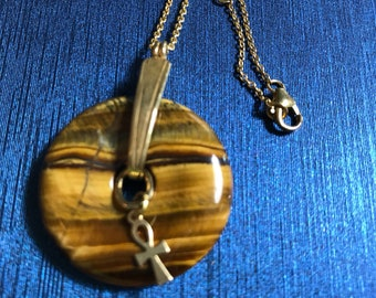 Tiger Eye donut pendant with an Egyptian Ankh and goldtine chain