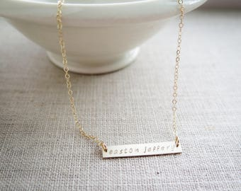 Customized Word Name with Heart Gold Bar Necklace - Hand Stamped Jewelry - Custom Gold Fill Necklace by Betsy Farmer Designs