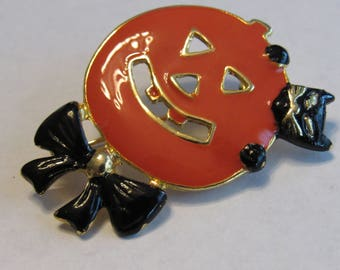 Fabulous 1960s Halloween Brooch Black cat Pumpkin Jack o lantern signed