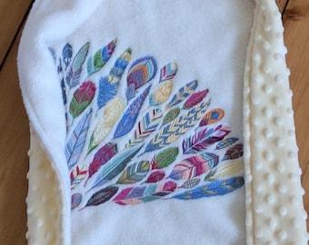 Feather baby blanket, boho baby blanket, boho baby, bohemian baby blanket, embroidered blanket, Minky baby blanket, gender neutral baby gift