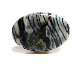 "Graffiti jasper, rutile jasper, cab beads, black and white,  jewelry making, jewelry supplies, ""Zebra Graffiti"""