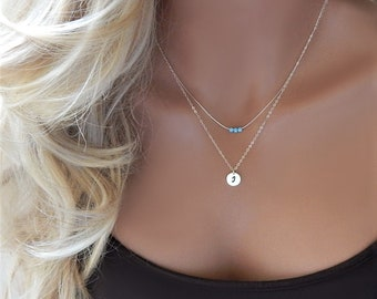 Initial Necklace • Personalized Layered Opal and Initial Necklace • Silver Gold • Mothers Day Gift • Gift for Girlfriend