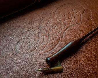 Desktop Leather Blotter, with custom signature