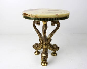 inox marble ornate brass italian side table coffee table additional table with fish legs midcentury  hollywood regency 1960 60s classic chic