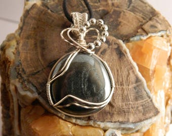 Wire Wrapped Hematite Pendant - Wire Wrapped Hematite - Wire Wrapped Pendant - Hematite Necklace