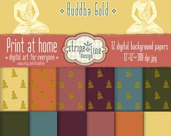 Digital paper Buddha Gold - Printable digital artwork. Scrapbook Papers Set, Digital Background, Premade Scrapbook Pages