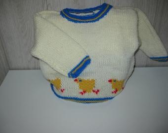 ecru baby chicks in diagram sweater