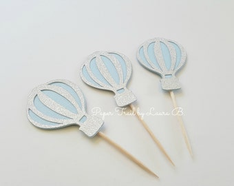 20 Hot Air Balloon Cupcake Toppers in Light Blue and Silver.  Baby Shower or Birthday Party Decorations. Up, Up and Away. 1st Birthday Decor