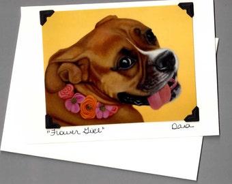 Boxer Card - Boxer Dog Art - Flower Girl Dog Card - Proceeds Benefit Animal Charity
