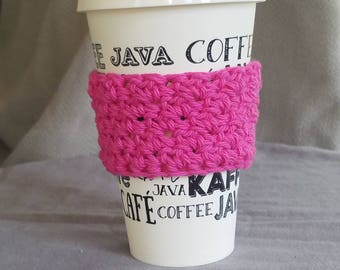 To go cup sleeve / hot cup jacket/ cup holder// pink// think pink// october// ready to ship// handmade// green gift
