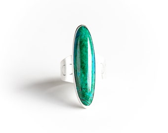 Malachite Chrysocolla ring - natural stone and recycled sterling silver modern blue green long oval shape cocktail ring - OOAK
