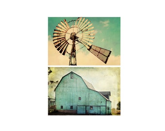 Country Farmhouse Photo Print Set, Aqua Barn Vintage Windmill Photography, Teal Turquoise Rustic Home Decor, Fixer Upper Style Wall Art