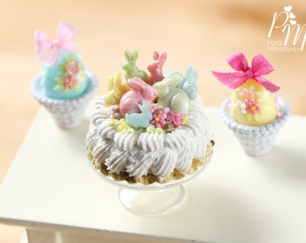 MTO-Easter Cream Cake Decorated with Spring Bunnies - Miniature Food in 12th Scale for Dollhouses