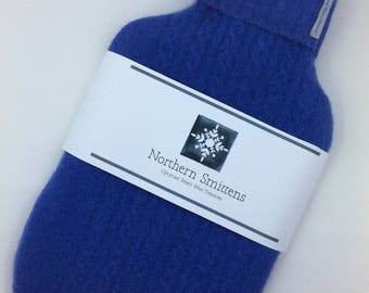 Wool hot water bottle cover and rubber bottle made from recycled felted wool sweater