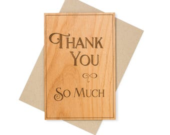 Wooden Thank You Card. Unique Thank You Cards. Thank You Gift.