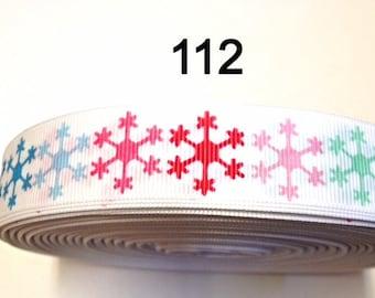 "3 or 5 yard - 7/8"" Multi Color Snowflake on White Grosgrain Ribbon Hair bow"